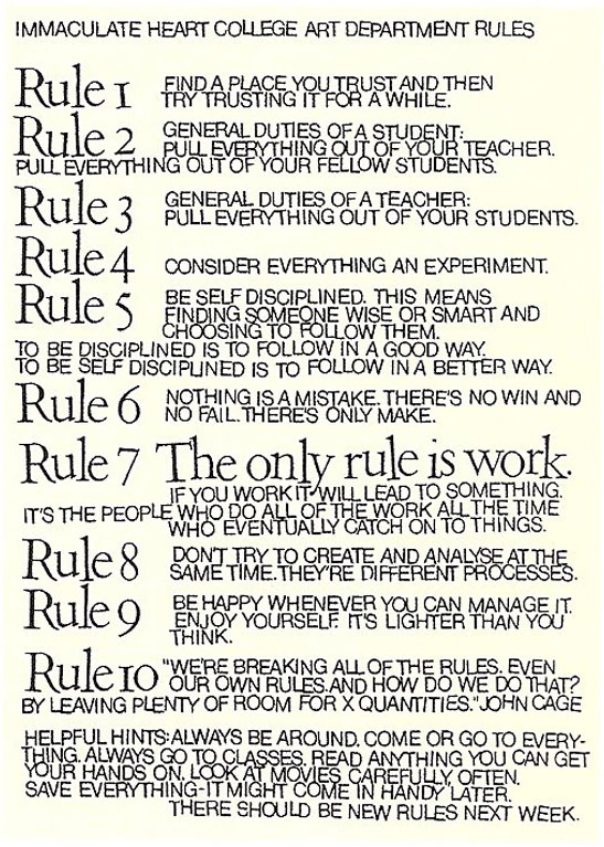 Some Rules for Teachers and Students